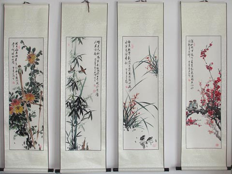 Plum Blossoms, Orchid, Bamboo and Chrysanthemum Scroll