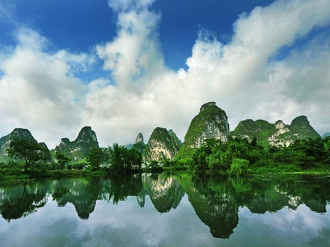 Hills Reflecting in the Li River