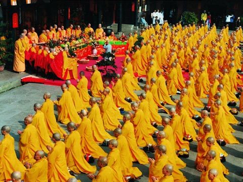 monks on religious ceremony