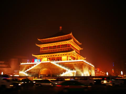 Xi'an Bell tower Night Scene