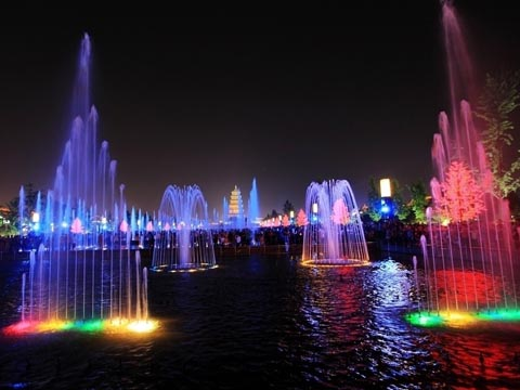 Xi'an Fountain Night Scene